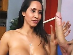 Oiled indian stunner give yummy bosom