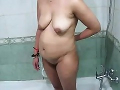 Heavy Indian Mom Purifying The brush..